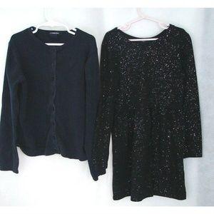GAP Girls Clothing, Black Glitter Dress + Cardigan